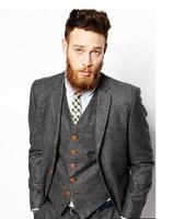Latest Coat Pant Designs Dark Grey Tweed Formal Custom Made Suits For Men Single Breasted Slim Fit 3 Piece Jacket+Vest+Pants 372