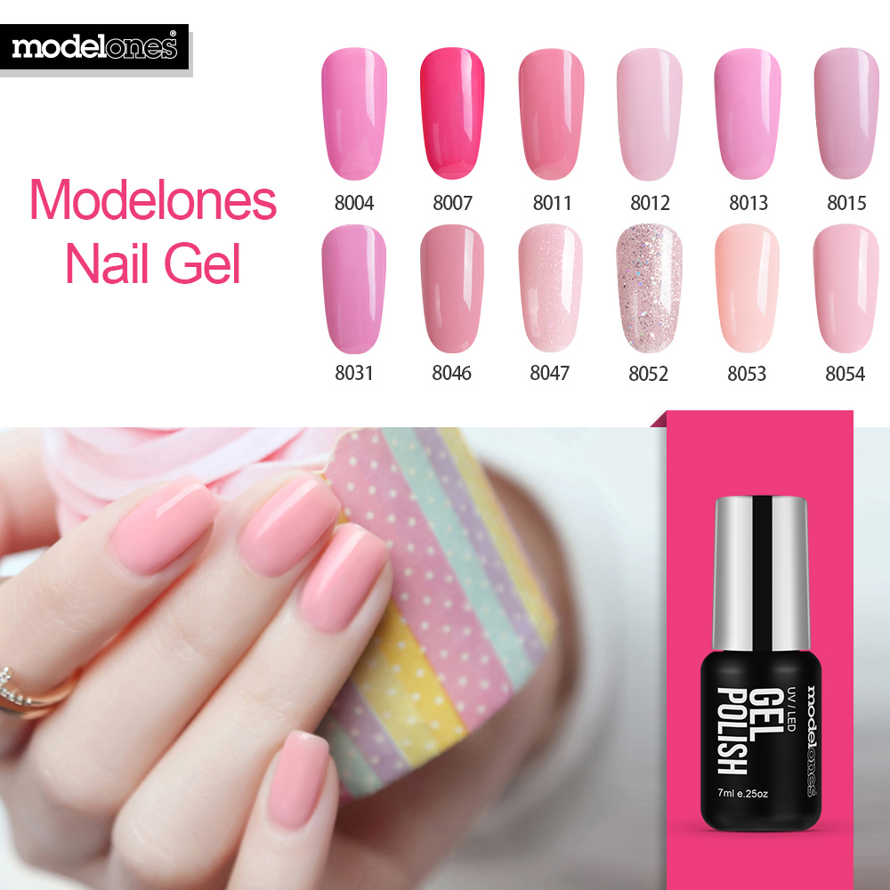 Modelones French Manicure Kit Pink Color Gel Polish Soak Off Uv Nail Gel Polish Best Selling