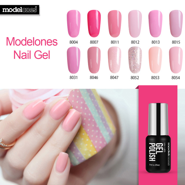 Modelones French Manicure Kit Pink Color Gel Polish Soak Off Uv Nail Best Ing