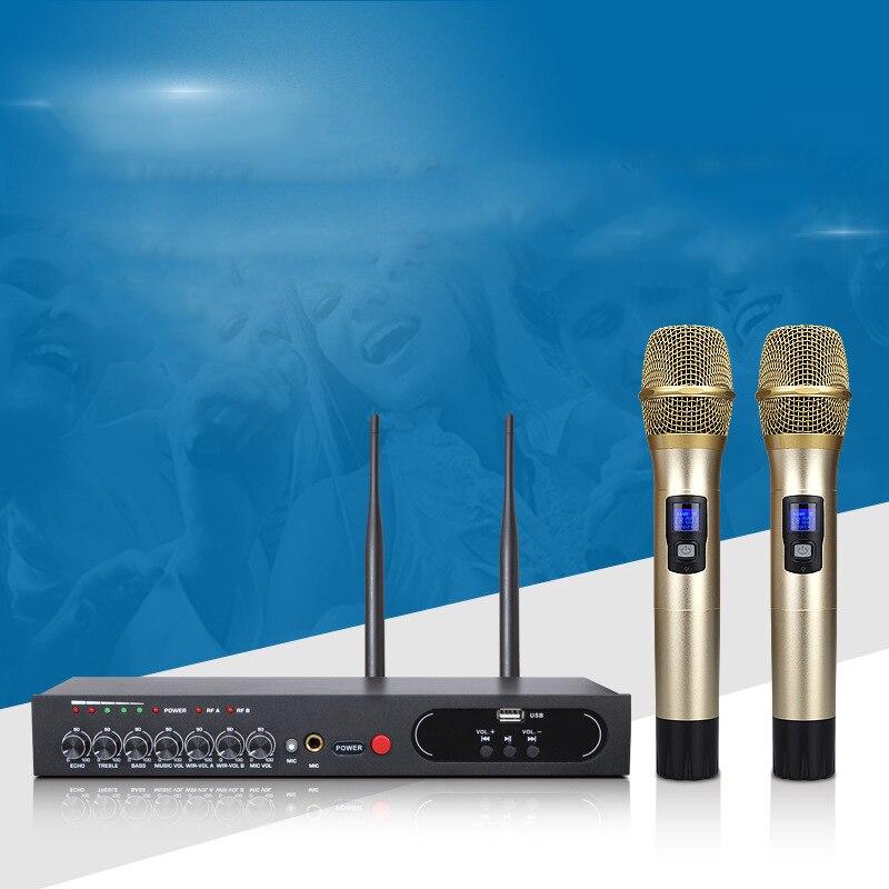 UHF500-599MHz del telefono Mobile computer di Casa canto Bluetooth Senza Fili microfono riverbero TV Audio ktv della fase ECHO ALTI Bassi