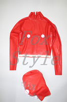 New latex shirt with sexy latex hood in red color rubber clothes with back zip