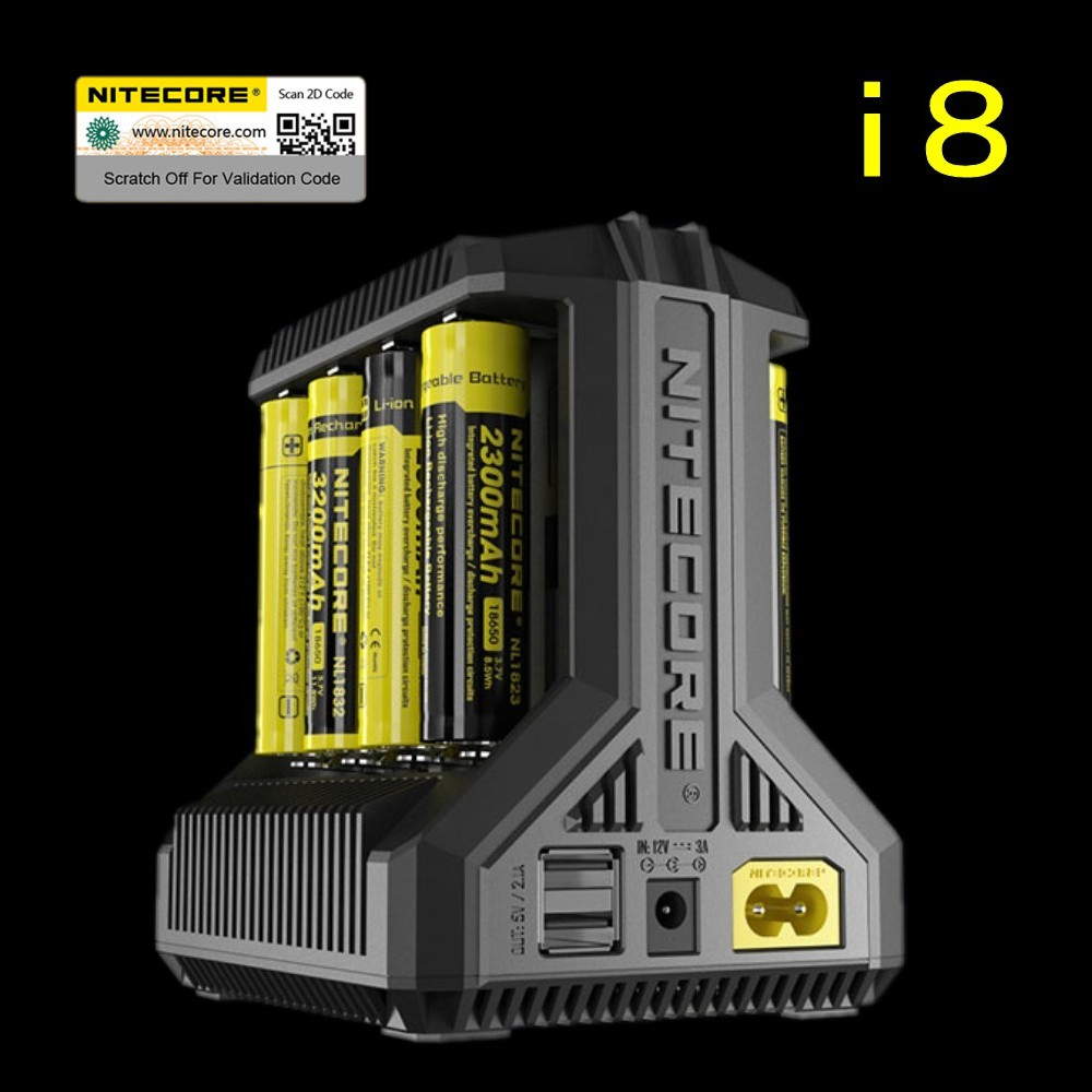 Nitecore i8 chargeur Intelligent 8 emplacements Total 4A sortie chargeur Intelligent pour IMR18650 16340 10440 AA AAA 14500 26650 et dispositif USB-in Chargeurs from Electronique    1