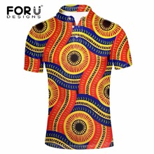 FORUDESIGNS Brands Men Polo Homme Slim Cool African Print Summer Men's Short Sleeve Mercerized Cotton Camisa Male Polo Shirt Men