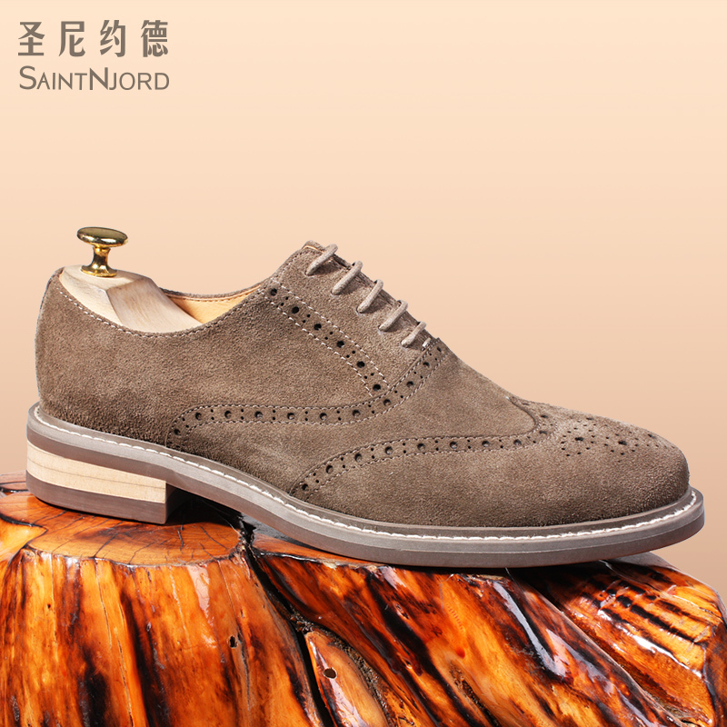 New arrival British Style Mens Bullock shoes round toe suede leather carved Oxford leather shoes business casual shoes EU44New arrival British Style Mens Bullock shoes round toe suede leather carved Oxford leather shoes business casual shoes EU44