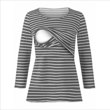 Pregnant women breast-feeding striped long-sleeved t-shirt care loaded with clothes Pregnant women's clothes Pregnant clothes