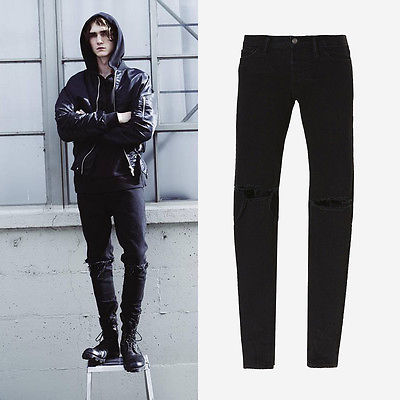 Stylish Men Locomotive Cool Jeans Ripped Pants Classic Biker Skinny Slim Straight Hole Zipper Fly Denim Trousers