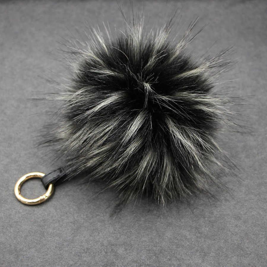 LLavero de bola de piel de mapache de 15 CM de colores con pompones de piel sintética llavero con colgante de piel de mapache bolsa