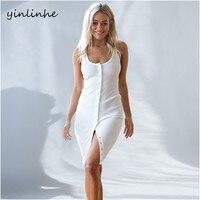 Yinlinhe Solid Sleeveless Strap Women Sexy Dress Club Wear Summer Knitted Dresses Backless Split Slim Elegant
