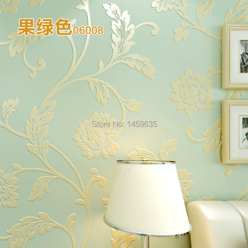 Cloud 3d stereoscopic rural non-woven wallpaper bedroom wall paper Roll for TV backdrop of fresh green and pink flower wallpaper