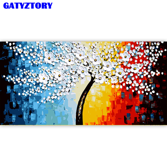 GATYZTORY Frame 60x120cm DIY Painting By Numbers Acrylic Paint By Numbers Flowers Wall Art Canvas Painting For Home Decor Arts