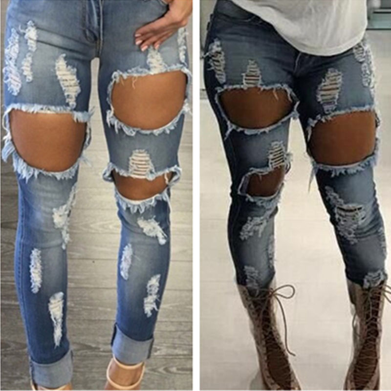 UK STOCK Women Destroyed Ripped Distressed Denim Slim Pants Jeans Hollow Button Zipper Trousers suck uk