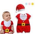 Macacões de Bebê verão Mangas Curtas Bodysuits + Hat Bebê Recém-nascido Meninos Meninas Natal Roupas para a altura 75-95 cm
