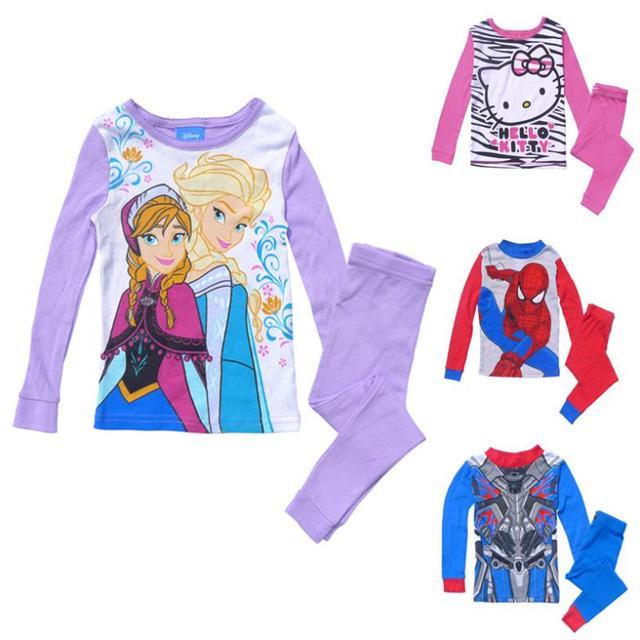 0154116a5 Children Pajamas Set Cute Cartoon Frozen Kitty Transformers ...