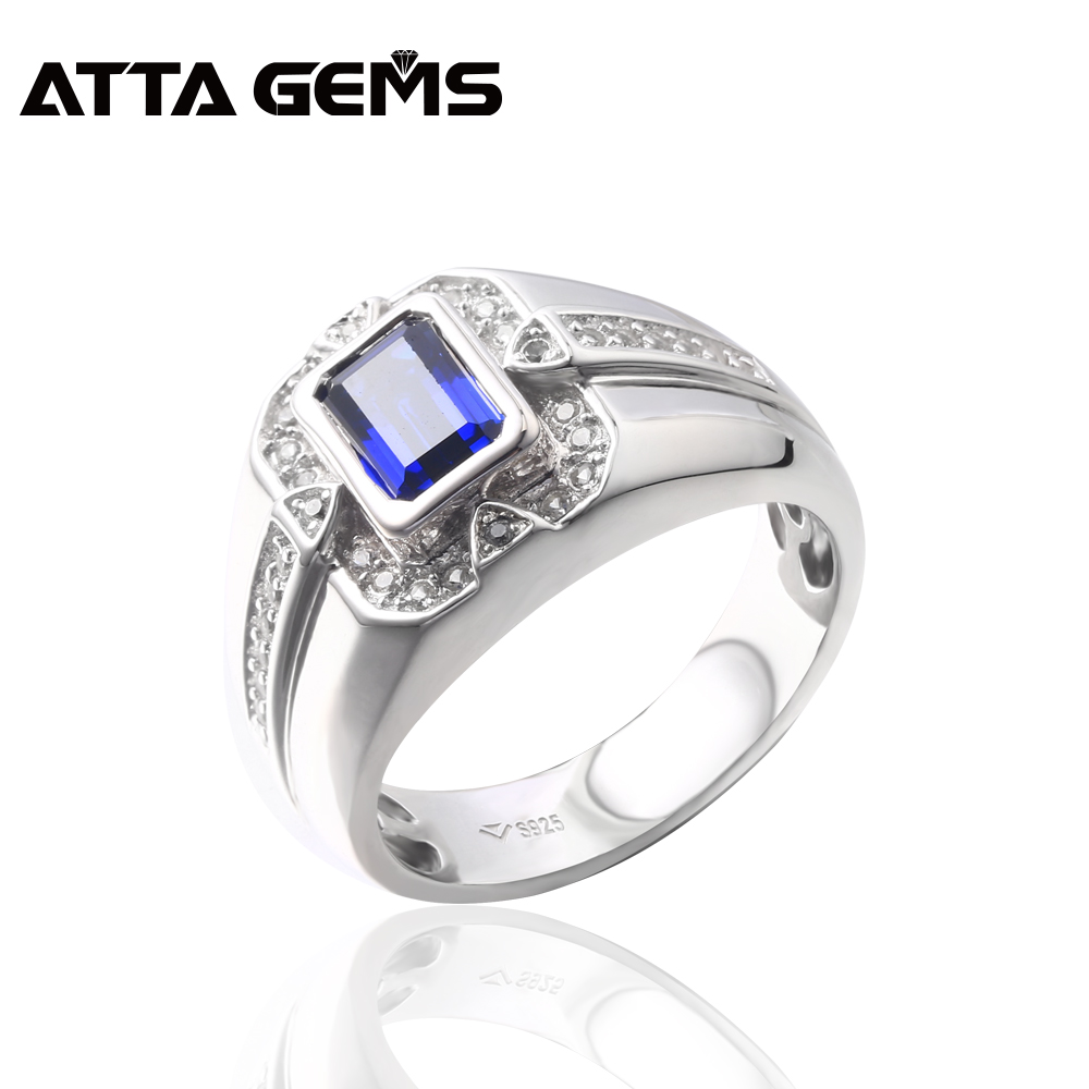 Blue Sapphire Stering Silver Men S Ring For Anniversary S925 Ring
