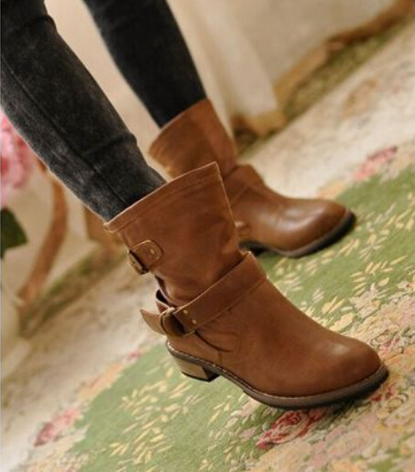 2015 new fashion women boots female spring and autumn women's martin boots flat vintage zip chains square heel motorcycle boots