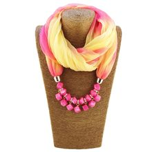 Multi-Colors Chiffon Beads Scarf Necklace Unique Gradient Head Scarves Colourful Printing Collar Women Decor turban Shawl 7C0630(China)