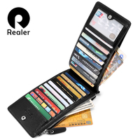 REALER Brand Women Multi Card Purse Long Zip Wallets For Women Ladies Card Case