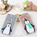 Cubierta de la caja del teléfono para iphone 6 6 s 4.7 transparente lindo pingüinos de la telefon accesorios Patrones Ultra Suave Tpu Capa Shell