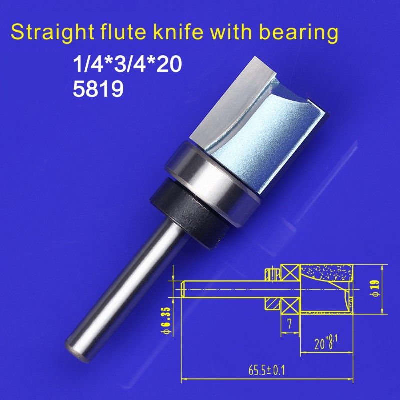 1/4*3/4*20mm Woodworking End Bearing Dual Flute Flush Trim Router Cutter Bit Alloy Steel fit for Electric Router Trimmer 5819 1 2 x 2 1 8 dual flute corner roundover bit router