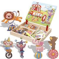 MINOCOOL Animal Wooden Magnetic Puzzle Toys Circus Troupe Figure Educational Jigsaw Baby S Drawing Puzzles Easel