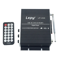 LP V9S 2x 20W 2CH Hi Fi Stereo L/R RCA Digital Audio Car Home Amplifier Amp with USB SD DVD CD FM MP3 Power Adapter