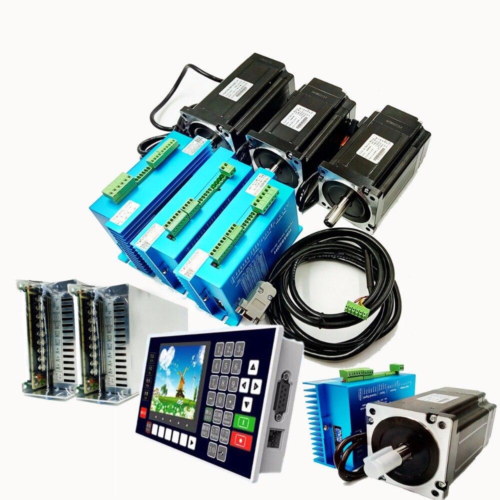 4 eixo NEMA34 2 Fase 60VAC 5.6A 4.5Nm Kit Motorista de Passo em Malha Fechada + Motor + Controlador + 60VAC Transformador para o Controle De Movimento CNC
