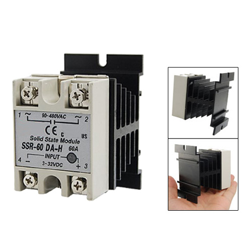 DHDL-New Black DC to AC SSR-60DA-H AC 90--480V 60A Single Phase Solid State Relay normally open single phase solid state relay ssr mgr 1 d48120 120a control dc ac 24 480v