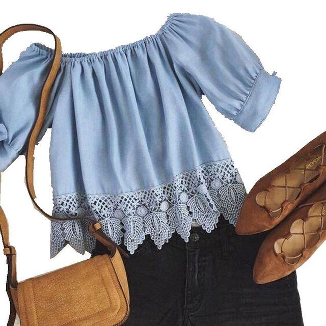Fashion Summer Women Ladies Lace Off-shoulder  Slash Neck Casual