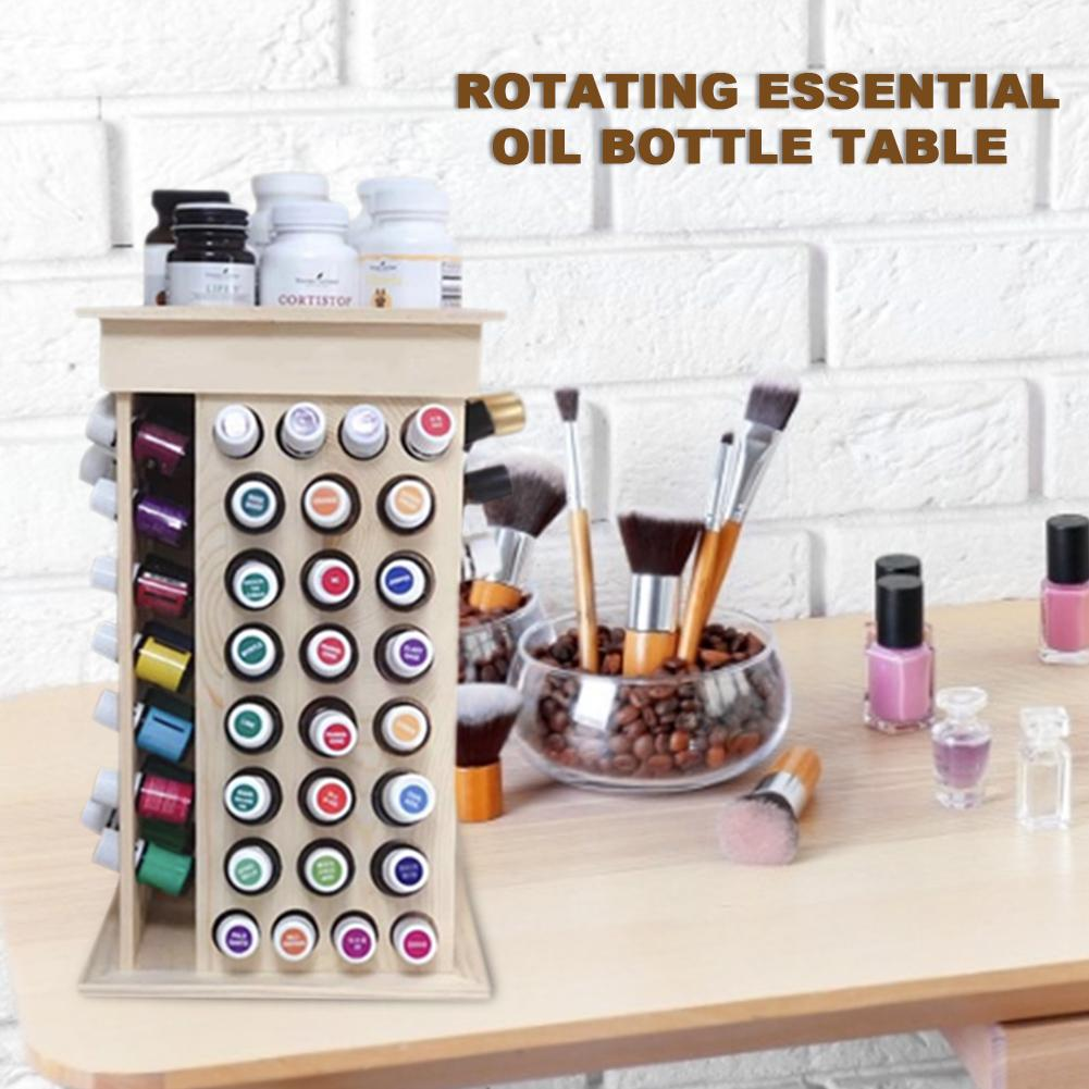 Solid Wooden 72 Large hole 32 small hole Rotating Essential Oil Bottle Holder Classification Display Stand Table Diffuser Holder