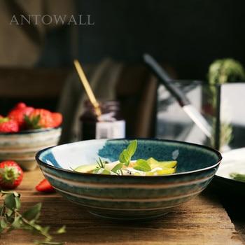 Vajilla japonesa anowall, cuenco para Fideos Instantáneos del hogar, tazón de cerámica para comer, tazón de sopa, rayas azules y blancas