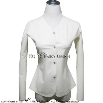 White Sexy Latex Shirt Buttons At Front Long Sleeves V Neck Front High collar Back Rubber Blouse Top YF-0002