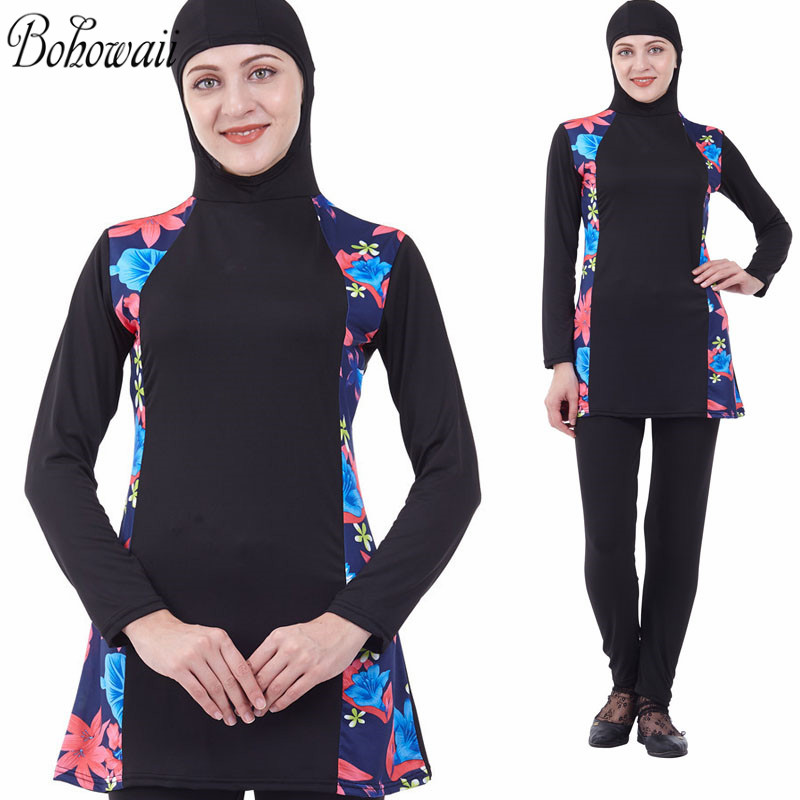 Hijab Full Cover Modest Blue Muslim 2-piece Swimsuit