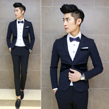 New 2017 men's fashion boutique groom Pure color wedding dress suit jackets / Male joining together Slim leisure business suits