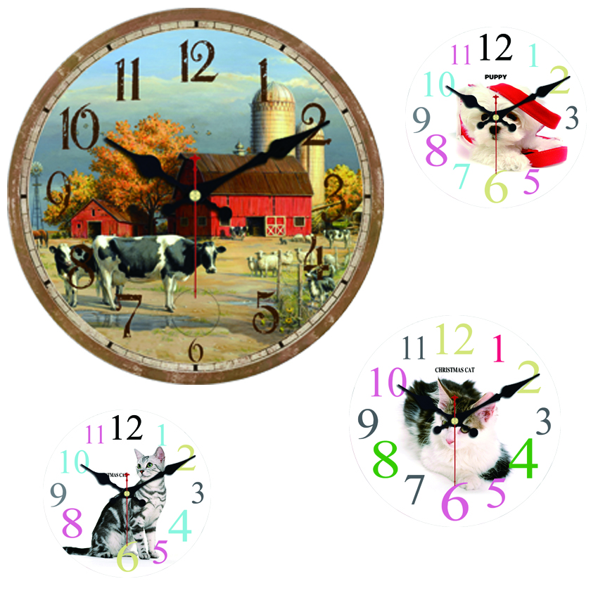 farm cow cat large decorative round wall clock living room wall decor saat fashion silent. Black Bedroom Furniture Sets. Home Design Ideas