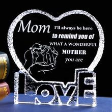 Mom Gift Laser Engraved Crystal Gift for Mom Love Heart Shape Present From Daughter Keepsake Mother's Day Gift Birthday gift Mom