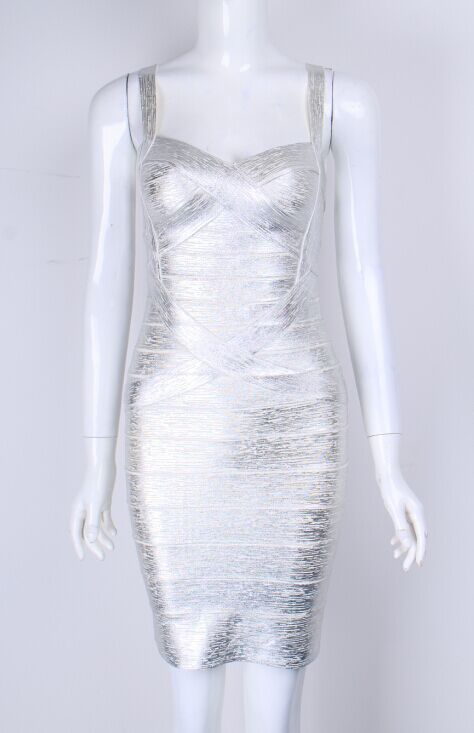 Or Haute Bandage Argent Manches Rayonne Homecoming Robe Qulaity Sans Déjouer argent Impression Parti Or qw7AqC