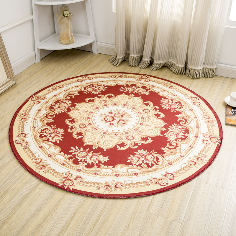 European Jacquard Round Rug Living Room Coffee Table Carpets Non-slip Waterproof Door Mats