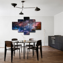 5 pieces canvas wall painting Galaxy Starry Sky spray painting prints home decoration with frame