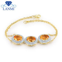 f19499ea1972 Diseño elegent oval 7x9mm 14Kt oro amarillo diamante natural citrino pulsera  para las mujeres