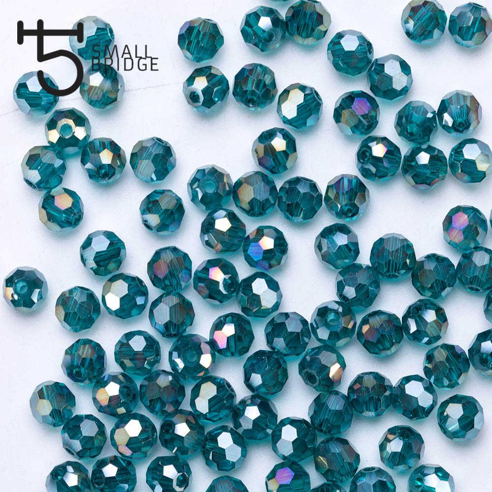 100 Buah 4 Mm Austria Hijau Faceted Bola Beads Wanita DIY Aksesoris untuk Perhiasan Makging Pengatur Jarak Manik-manik Kaca Kristal Grosir z104