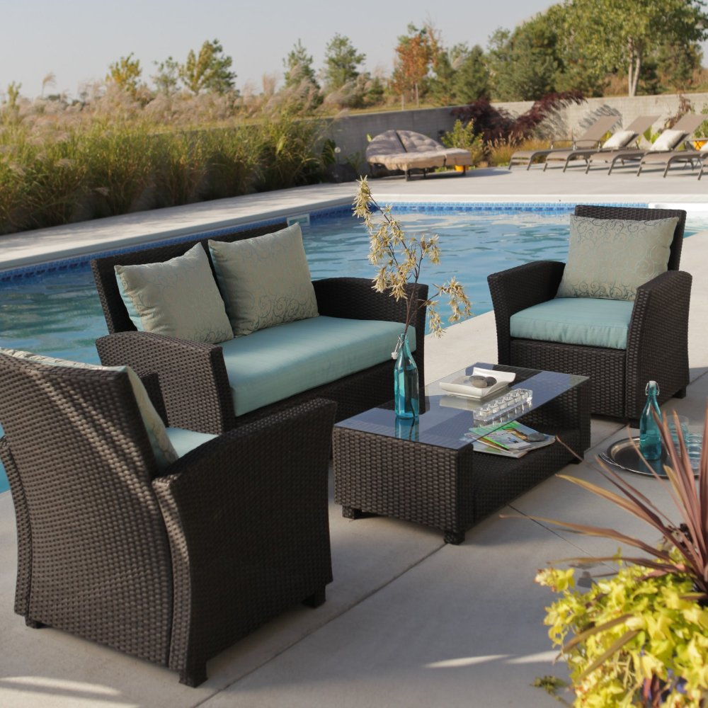 dining resistant outdoor water piece cushions with kitchen dp currituck set sofa circular patio black com wicker amazon furniture