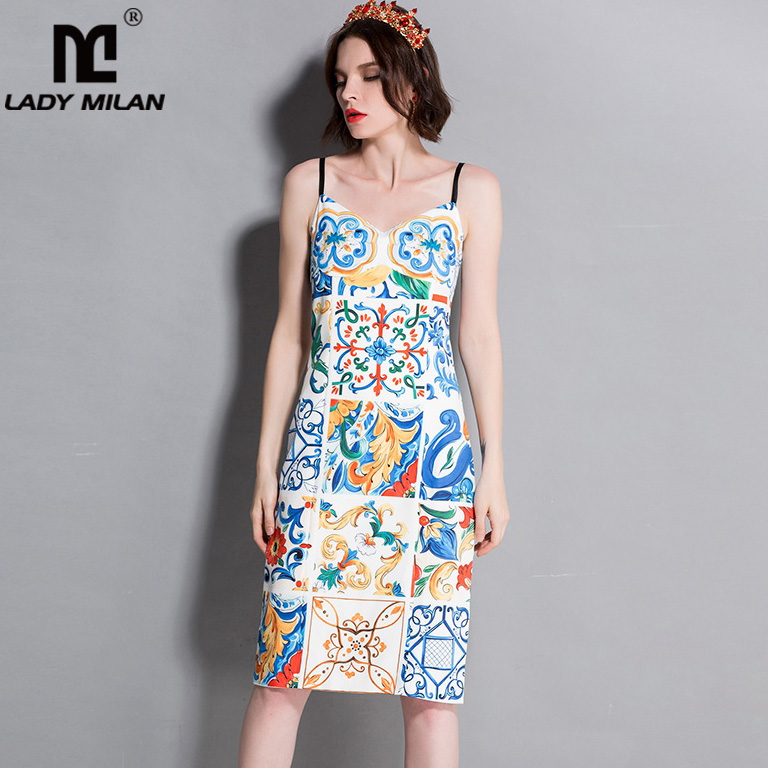 New Arrival 2018 Womens Spaghetti Straps Printed Sheath Fashion Casual Designer Summer Holiday Runway Dresses