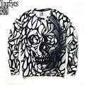 2016 autumn women/men's clothing black white skull 3d print sweatshirt hoodies men graphic crewneck sweatshirts sudaderas hombre
