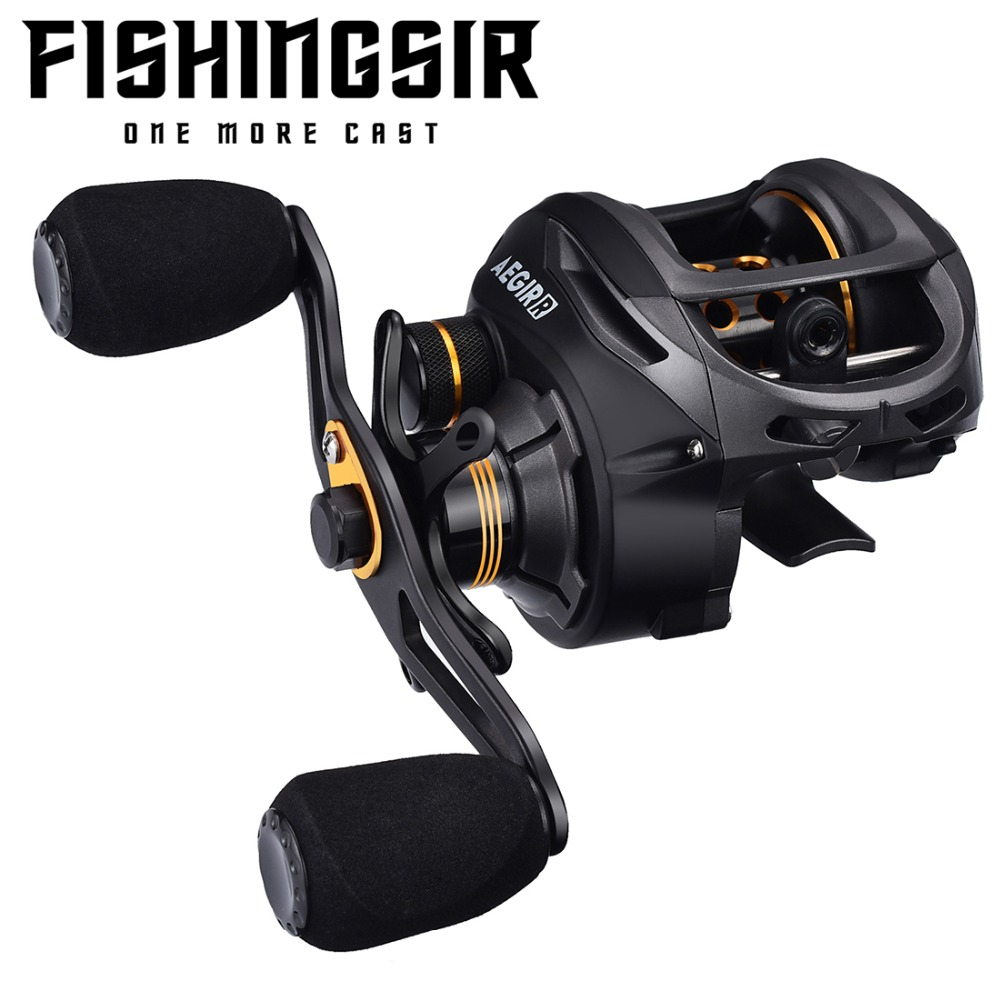 FISHINGSIR Baitcasting Angeln Reel 17.6Lb Carbon Drag 9 + 1 Lager Wasserdichte Links Rechts Hand High Speed Low Profile rollen
