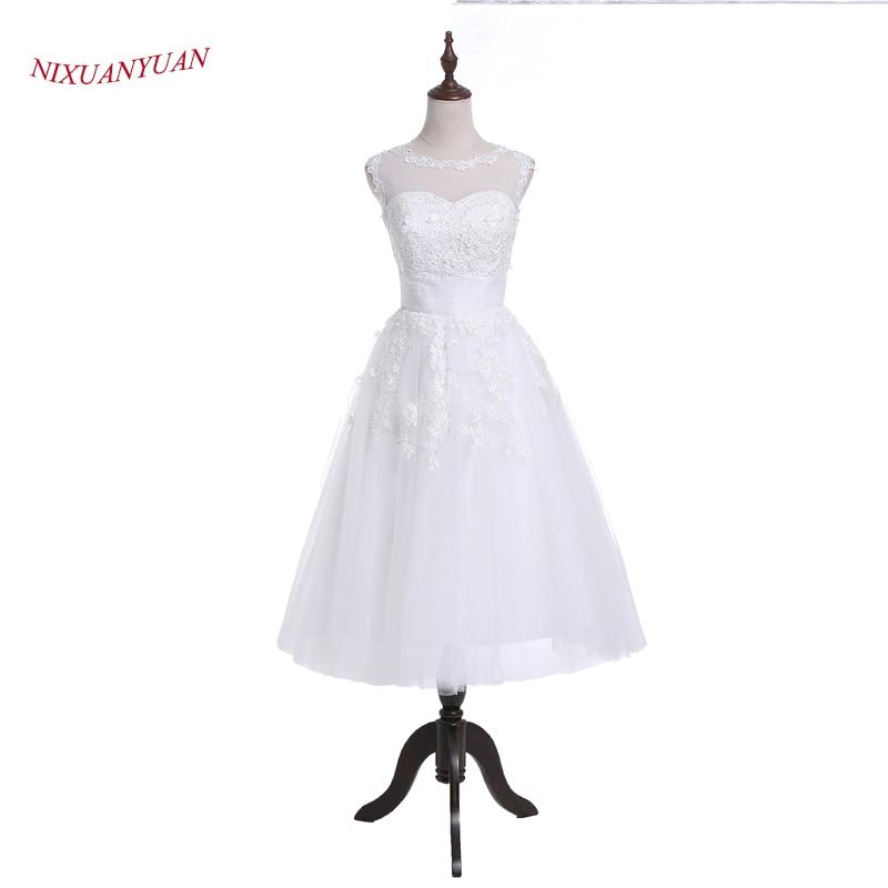 Nixuanyuan 2017 تصميم جديد يزين قصيرة فستان الزفاف 2017 الأبيض تول الزفاف ثوب الزفاف س الرقبة الصيف vestido دي noiva