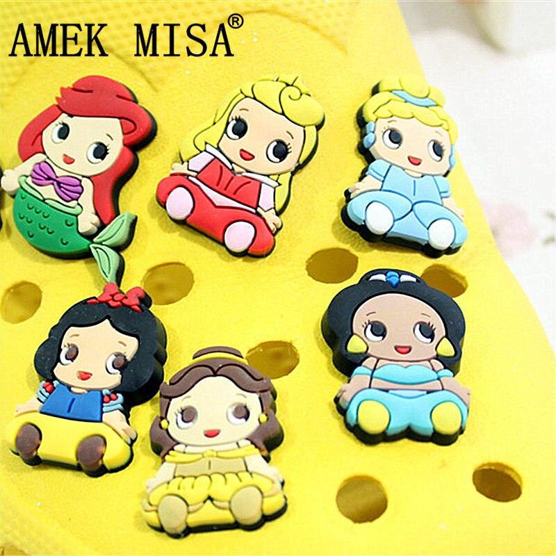 6/12 Pcs A Lot PVC Shoe Decoration Cartoon Princess Charms Accessories For Kids Favor Kawaii Vute Xmas Gift Fit Bands/Croc D26