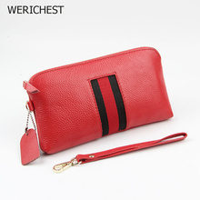 WERICHEST New Genuine Leather Women Clutch Wallets Multiple Cards Holder Long Female Purse With Phone Bag Fashion Cartera Mujer 3157 fashion women wallet leather small crossbody bags girls purse multiple cards holder phone pocket female standard wallets