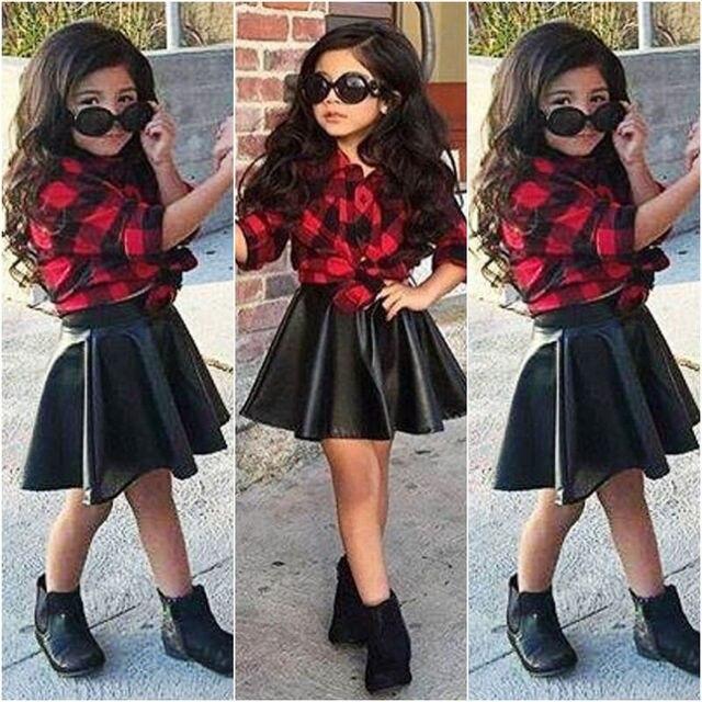 nias nios ropa de moda set tops camisa a cuadros negro pu falda conjuntos de ropa