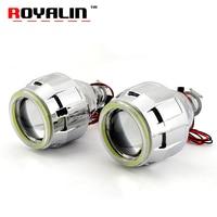 ROYALIN 2 5 HID Bi Xenon H1 Projector Headlight Lens LHD RHD W 70mm COB Angel