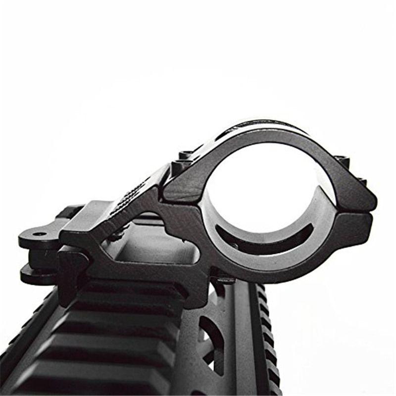 45 Degree Offset Ring Flashlight Holder Mount Fit for 20mm Picatinny/Weaver Rail for 25.4mm 30mm Tube with QD Quick Release Base quick release aluminum alloy gun mount clips for 20mm rail black 2 pcs